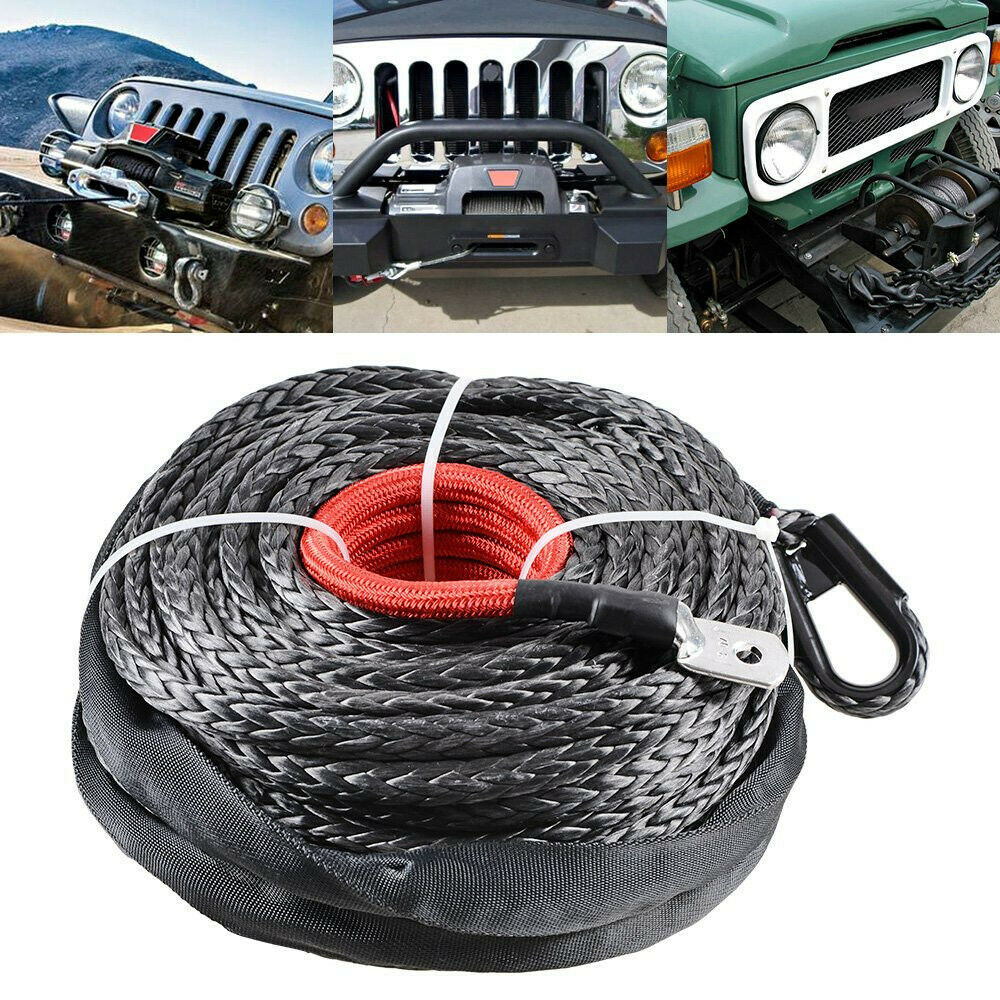 "3/8"" X 95' Winch Synthetic Line Cable Rope ATV UTV Truck Boat W/ Thimble Sleeve"