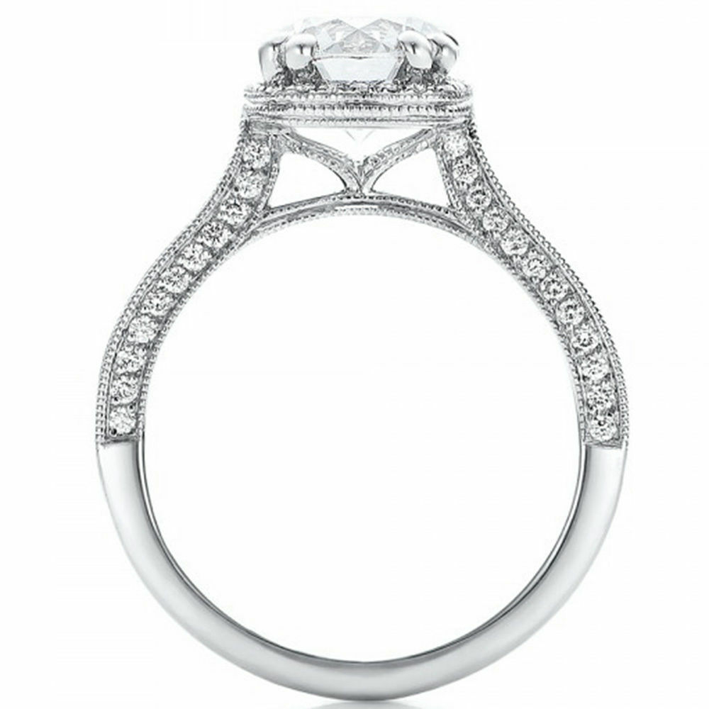 GIA Certified Halo Round Cut Diamond Engagement Ring 18k Gold 2.47 Carat total 2