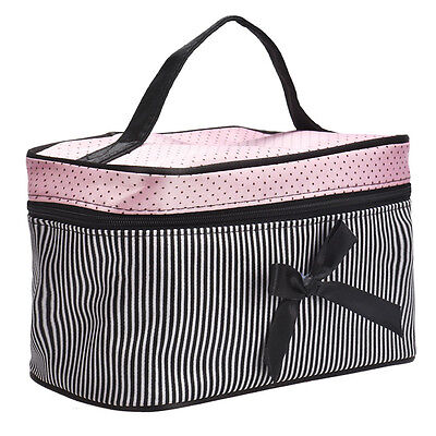 Cosmetic Bag Striped Bowknot Women Makeup Bag Portable Handbag Make-up Tools