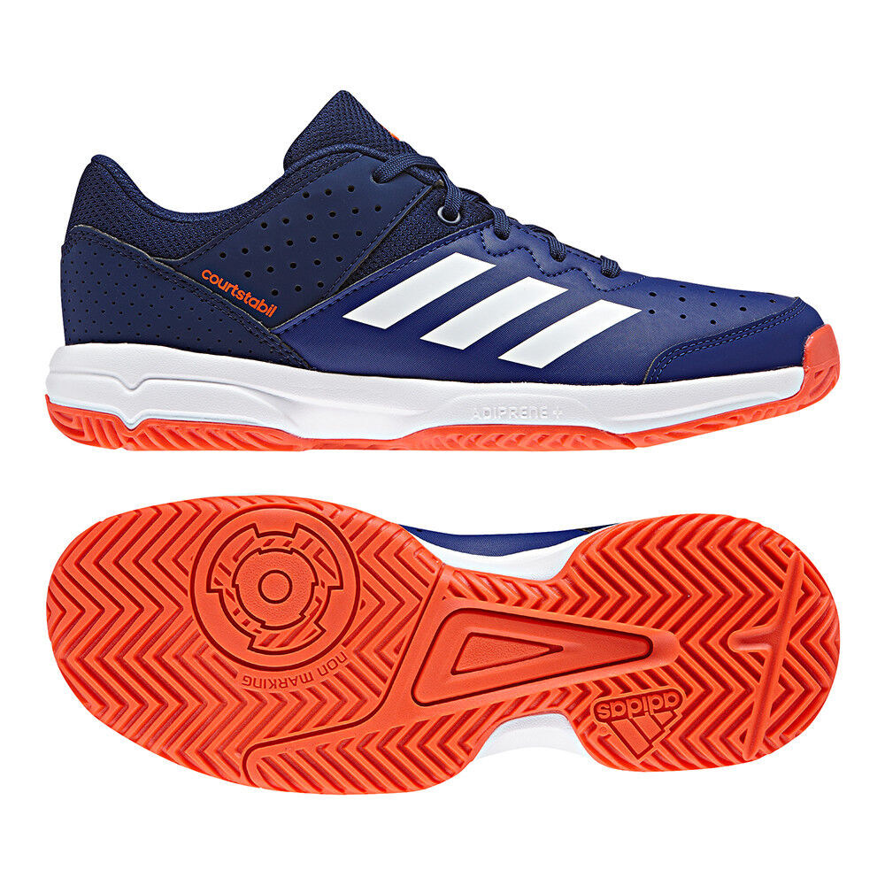 best loved ed73b 267a0 Adidas Court Stabil JR Kids Indoor Trainers Boys Girls Gym Tennis Shoes