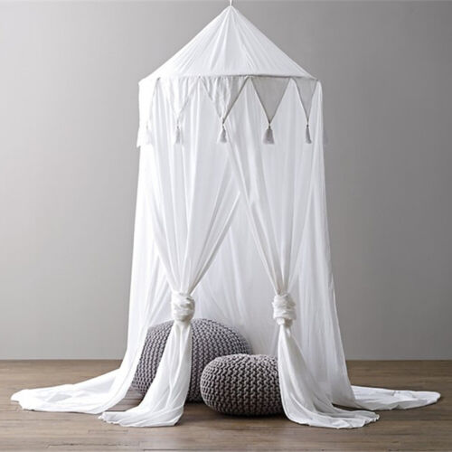 Cot Pram Canopy Bedcover Mosquito Net Curtain Kid Bedding Round Dome Tent Cotton