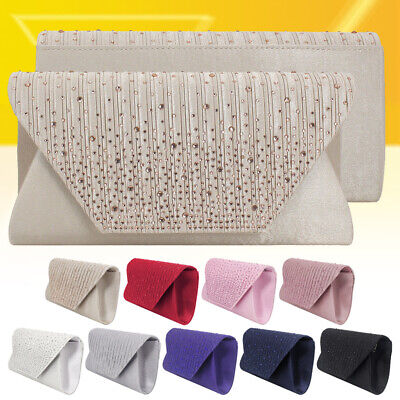 Women Sparking Diamante Bag Wedding Party Bridal Clutch Evening Formal Handbag