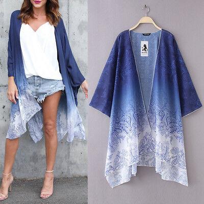 (Women Floral Chiffon Loose Shawl Kimono Cardigan Top Cover up Shirt Blouse Tops)