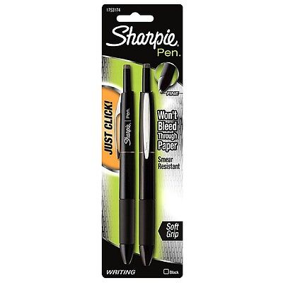 Sharpie Pen Retractable Fine Point Pens Black 2 Ea