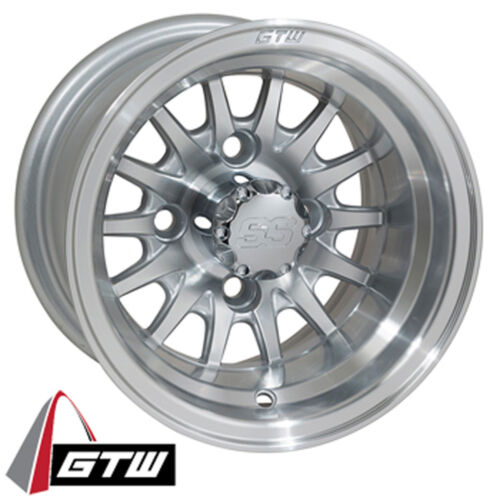 Set of 4 Golf Cart GTW Medusa 10 inch Machined and Silver Wheels With 3:4 Offset