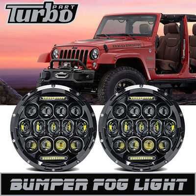 "DOT 7"" Inch 75W Cree LED Headlights Hi/Lo Beam DRL for 97-18 Jeep Wrangler JK TJ"