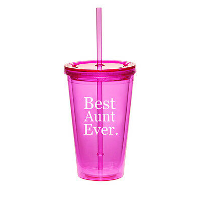 16oz Double Wall Acrylic Tumbler Pool Beach Cup With Straw Best Aunt (Best Straw Cups)