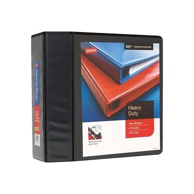 "Staples Heavy Duty 4"" 3-Ring View Binder Black  82664"