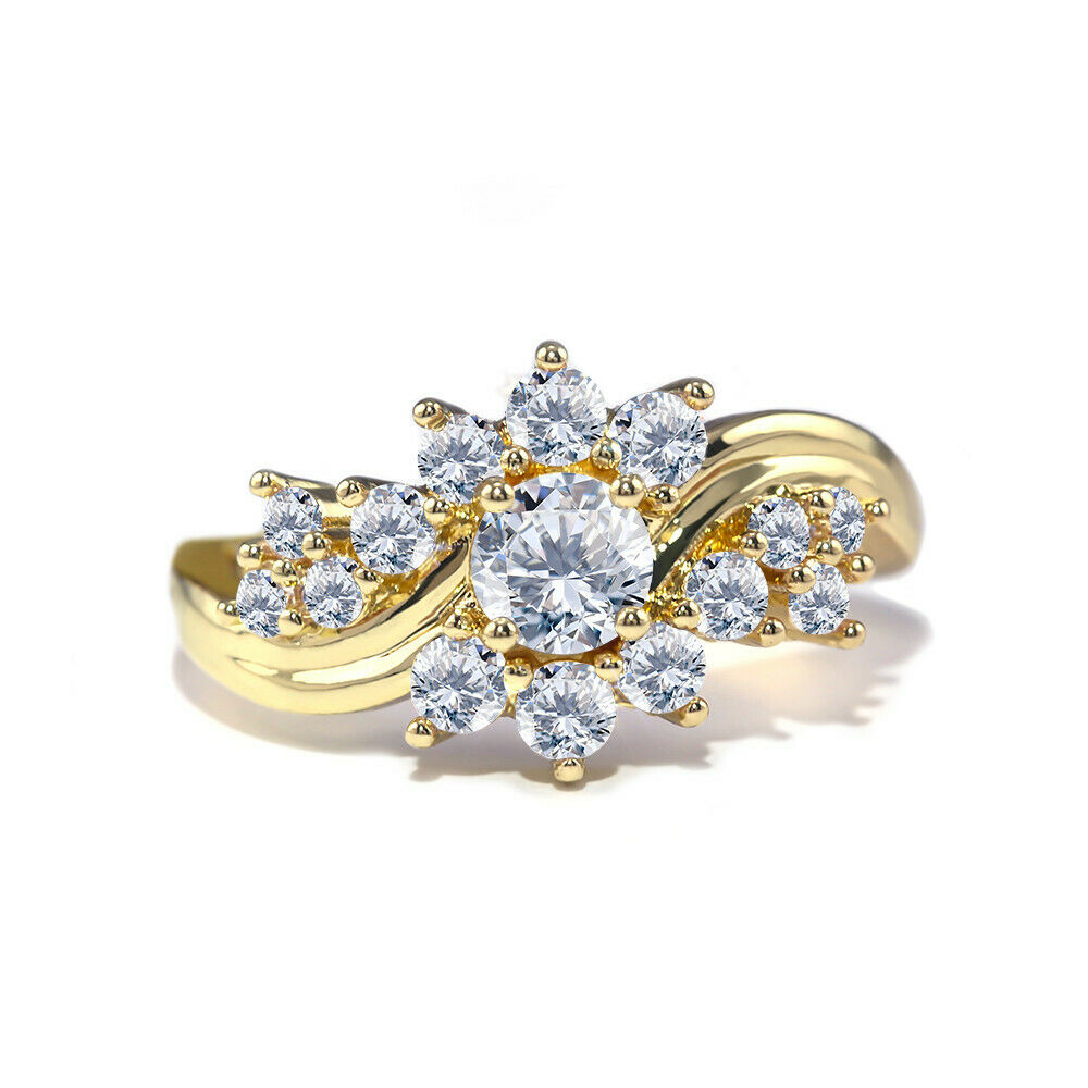 Gorgeous 18k Yellow Gold Plated Rings for Women Jewelry Whit