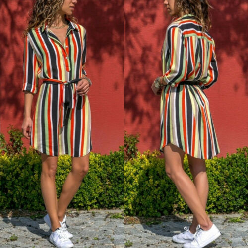 Women's Stripe Print Pockets Dress Sexy Empire Bohemia Long Sleeve Mini Dress