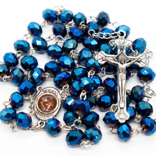 Deep Blue Crystal Beads Rosary Necklace Catholic Holy Soil Center Cross Crucifix