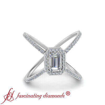 Halo Split Shank Engagement Ring With Emerald Cut Diamond In Center 0.85 Carat