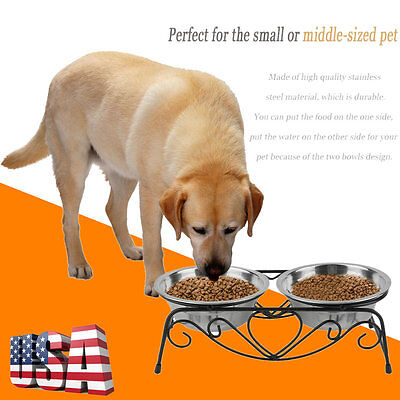 Cat Dog Food Water Raised Feeder Double Bowl Dish Stand Stainless Steel Puppy HC