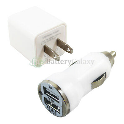 Fast Dual 2 Port Wall+Car Charger for Samsung Galaxy Active Plus S3 S4 S5 S6 (Fast Car Charger For Samsung Galaxy S3)