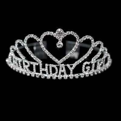 NEW BIRTHDAY GIRL SHAPE HAPPY BIRTHDAY CRYSTAL CROWN TIARA RHIESTONE JEWELRY (Happy Birthday Tiaras)