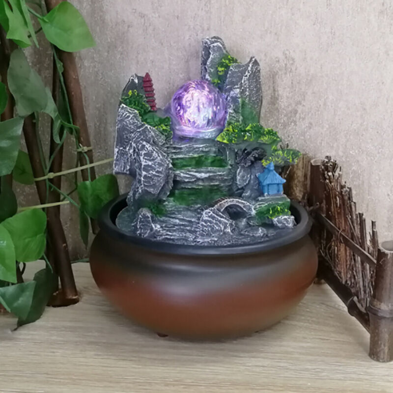 Water Fountain Resin Rockery Waterfall Crystal Ball Home Fengshui Decoration LED