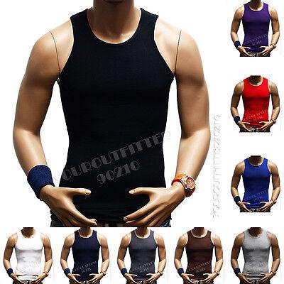 Men's Slim Muscle Tank Top T-Shirt Casual Ribbed Sleeveless