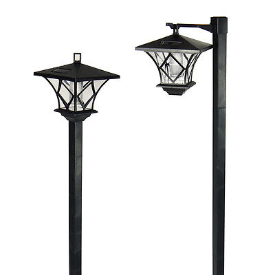 6 Outdoor Garden LED Antique Solar Landscape Path Lights Lamp Post Dual Purpose