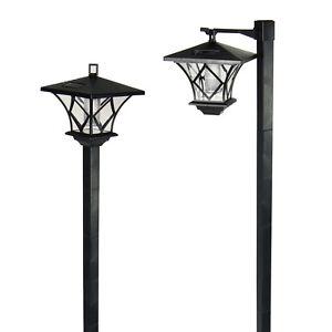 6 outdoor garden led antique solar landscape path lights lamp post dual purpose