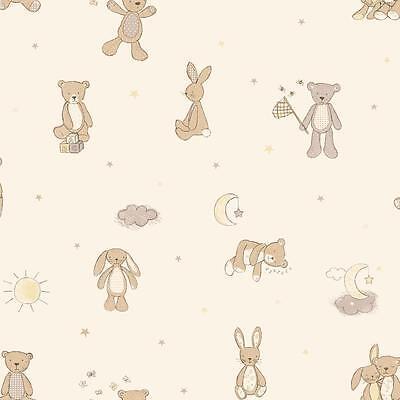 (ARTHOUSE BEAR HUGS TEDDY BEAR STARS MOON NURSERY CHILDRENS WALLPAPER NEUTRAL)