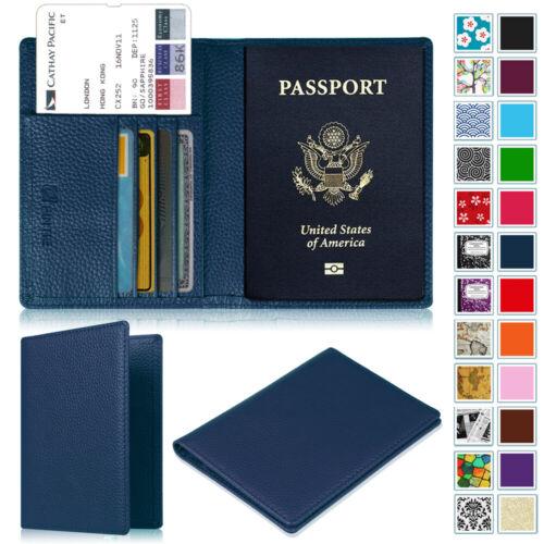 Premium Vegan Leather RFID Blocking Passport Holder Travel Wallet Case Cover