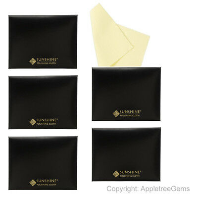 5 Sunshine Polishing Cloths for Sterling Silver Gold Brass and Copper Jewelry