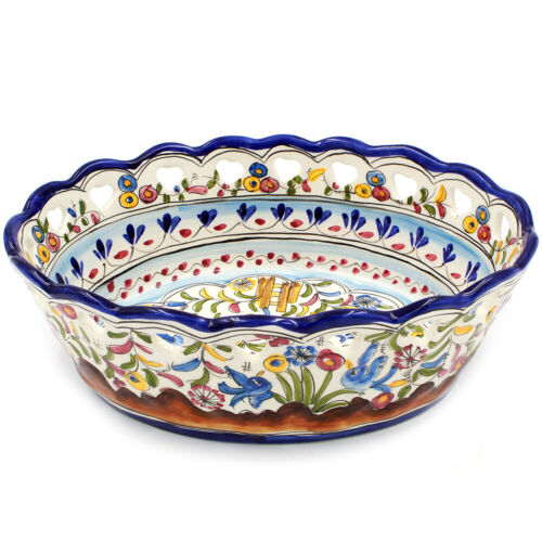 Hand-painted Portuguese Pottery Ceramic Large Salad Bowl