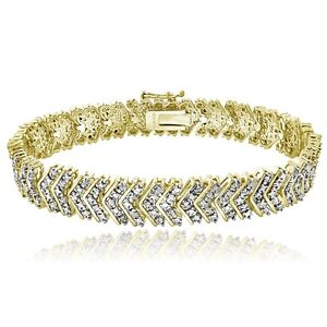 18K Gold Tone 1ct TDW Diamond Chevron Bracelet