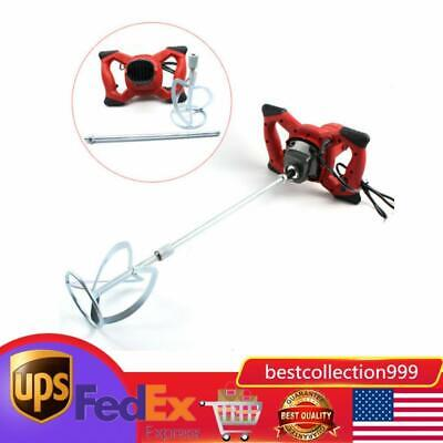 New Electric Mortar Mixer 1500w Dual High Low Gear 6 Speed Paint Cement Grout Us