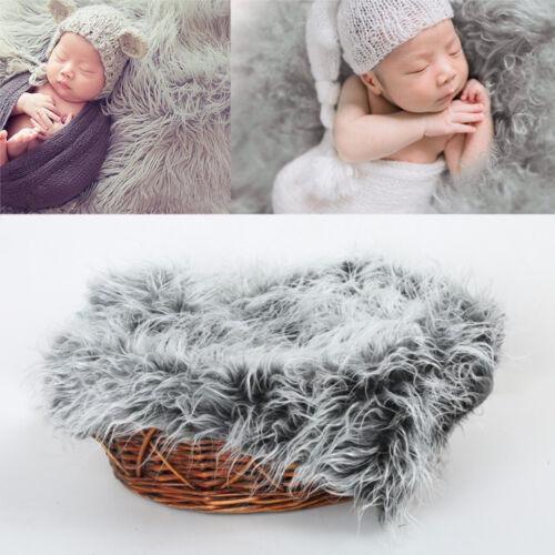 Chic Baby Photo Prop Backdrop Newborn Photography Soft Fur Quilt Mat Blanket R g