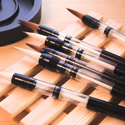 6 Pc / Set Piston Water color Brush Chinese Japanese Calligraphy Pen