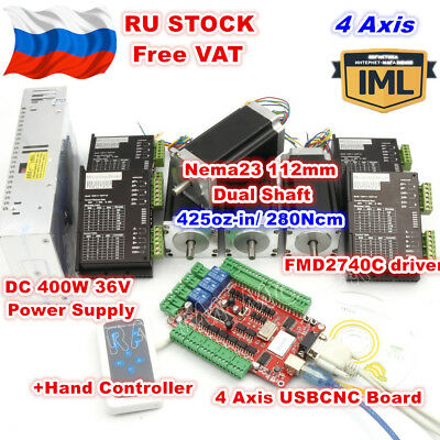 Rus4 Axis Nema23 Usbcnc 112mm 425oz-in Dual Shaft Stepper Motor Controller Kit
