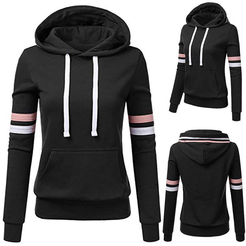 Long Sleeve Women Striped Hooded Pullover Coat Loose Hoodie Jumper Sweatshirt