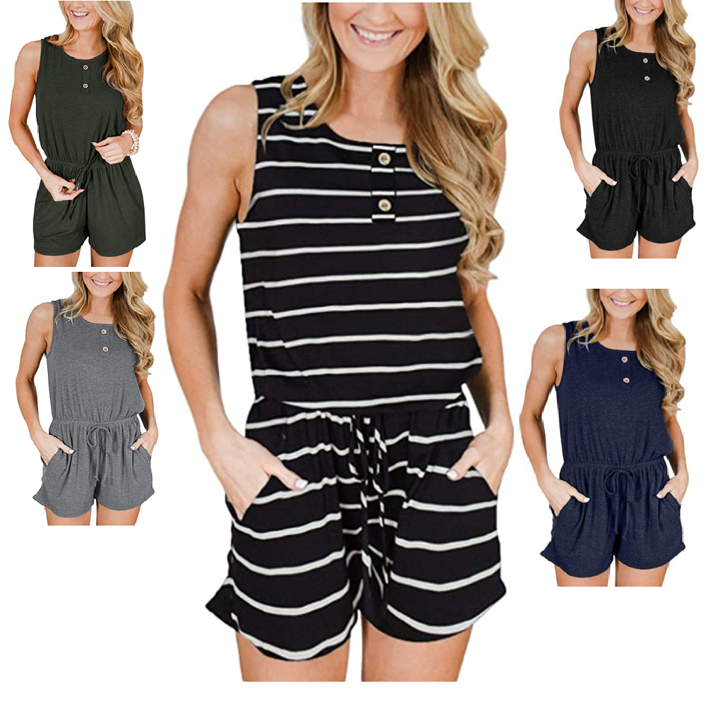 Women Jumpsuit Sleeveless Button Drawstring Rompers Soft Fashion Summer Beauty Clothing, Shoes & Accessories