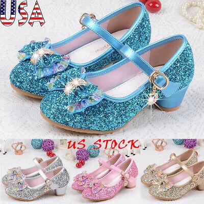 Kids Girls Sequins Princess Sandals Bow Low Heel Party Dance Dress Shoes -