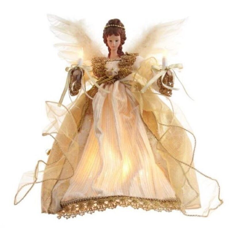 Gold Angel Lighted Christmas Tree Topper 12 Inch UL2225 New