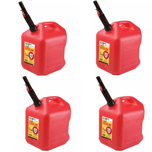 Gas Cans - 5 Gallon each, 4 Pack, Plastic Will Not Corrode or Rust, BRAND NEW
