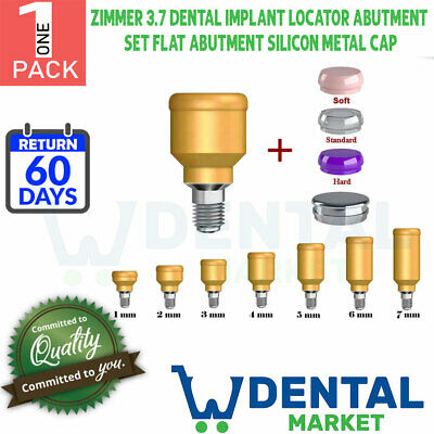 X1 Zimmer 3.7dental Implant Locator Abutment Set Flat Abutment Silicon Metal Cap