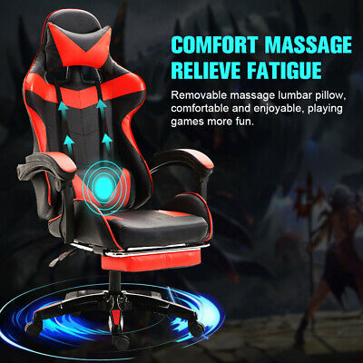 Us Leather Computer Gaming Chairfootrest Swivel Racing Lumbar Massage Recliner