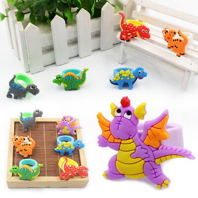 Cartoon Dinosaur FINGER RINGS Silicone Party Favour Boys Girls Celebrations Gift