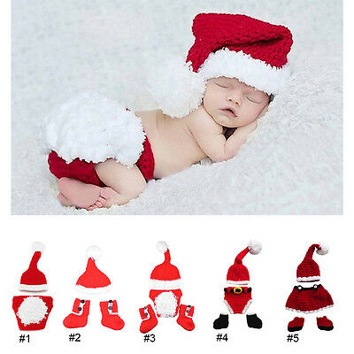 Newborn Baby Boy Girl Crochet Knitted Christmas Santa Costume Hat Outfit Clothes - Boy Santa Costume