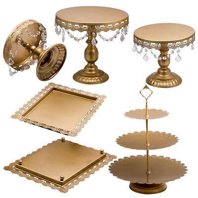 6Pcs Crystal Golden Cake Holder Cupcake Stand Retangular Dishes Dessert Display