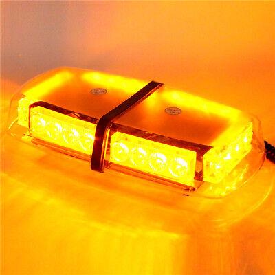 12V Magnetic Base Car Truck LED Emergency Mini Strobe Flashing Light Bar -Amber ()