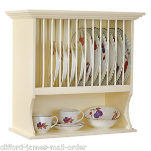 Traditional Buttermilk Wall Mounted Plate Rack & Shelf Unit by Country Kitchen
