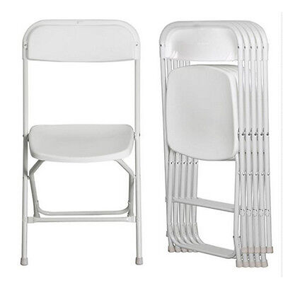 Stackable High Chairs - New 5x Commercial High Quality Stackable Plastic Folding Chairs in White Plastic