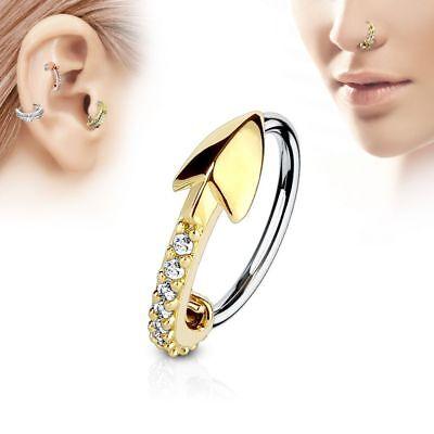 Piercing nase ring pfeil golden besetzt mit strasssteine ()