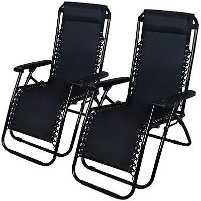 Zero Gravity Chairs Case Of  2  Black Lounge Patio Chairs Outdoor Yard Beach New