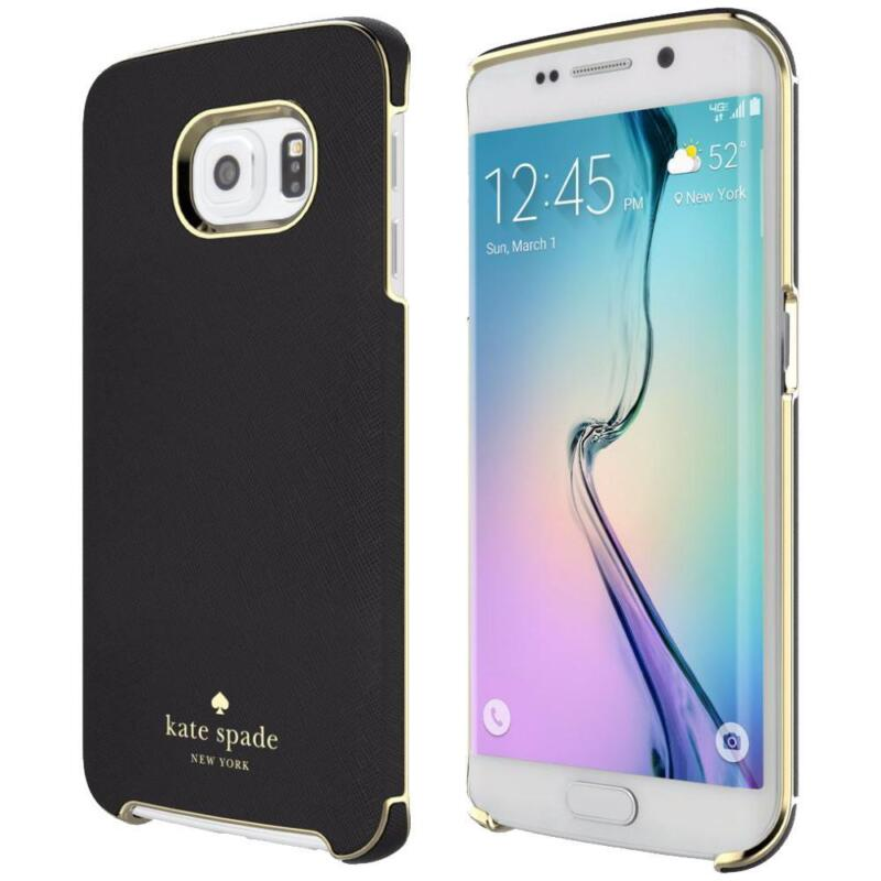 Kate Spade New York Leather Wrap Case for Samsung Galaxy S6 Edge - Black w/ Gold
