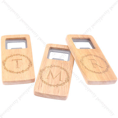 Wedding Gifts For Groomsmen (Engraving Monogram Wooden Beer Bottle Opener For Groomsmen Gift Wedding Favors)