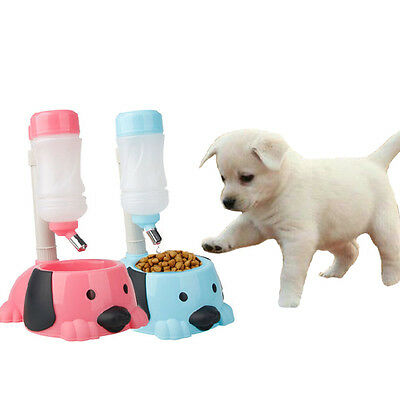 2 In 1 Feeder Cat Pet Dog Puppy 32Oz Stander Water Bottle   32Oz Food Bowl